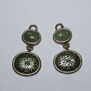 Liz Claiborne hoop dangles green and gold